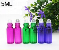Wholesale Refillable ml oz Stainless Steel Roll Ball Glass balls Portable essential oil bottle Multicolored Glass Empty Perfume Bottle