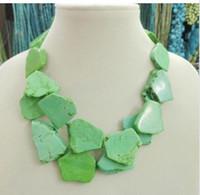 apple green jade earrings - Charm Apple Green Turquoise Slice Choker Necklace Handmade Woman Gift Layer