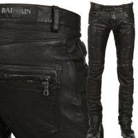 pu leather for leather pants - True Brand Designer Balmans PU Faux Leather Men Pants Skinny Justin Bieber Clothes Slim Fit zipper black balmai biker leather pants for men