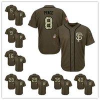Wholesale Men s San Francisco Giants Buster Posey Brandon Crawford Madison Bumgarner Green Salute to Service Stitched Baseball Jerseys