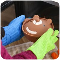 Wholesale Heat Resistant Silicone Glove Cooking Baking BBQ Oven Pot Holder Mitt Kitchen Orange