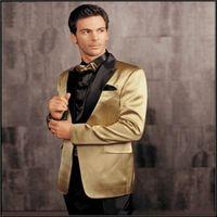 Wholesale New Arrival Golden Jacket Groom Tuxedos One Button Black Pants Lapel Bridegroom Groomsman Men Wedding Suits jacket pants