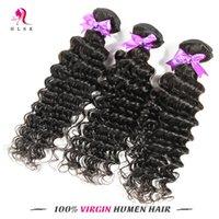 Cheap 7A Deep Weave 3 Pcs #1B Bazilian Malaysian Peruvian Indian Virgin Human Hair Extensions Hair Weft Kinky Curly 1B 3pcs Double Weft