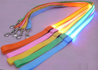 Wholesale 2 CM nylon weave cm dog collars leashes Glow LED Flashing Light Dog Pet Leash Tether dog leashes