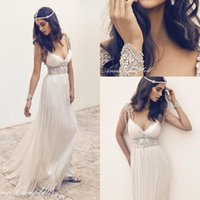 beaded wedding sashes - 2016 Sexy Anna Campbell Backless Wedding Ball Gowns Cheap Beach Wedding Dresses Crystal Beaded Vintage Lace Greek Bridal Gowns