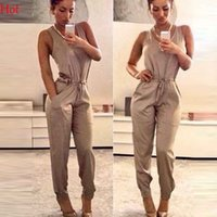 Wholesale veralls Summer Style Jumpsuit Women Casual Pockets Sleeveless Long Pants Playsuits O Neck Summer Rompers Sexy Womens Jumpsuit SV021357