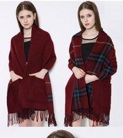 big baba - New Winter British Baba Grid Tassel Cashmere Scarf Quality Large Size Women s Fashion Double Big Pocket Plaid Pashmina