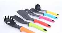 Wholesale 6Pcs Nylon non stick Cookware Set With standKitchen Utensil Tool set Spatula Spoon Slotted Spoon Noodle Spoon Ladle Stand