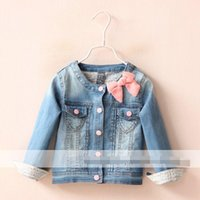 baby roads - Cute Baby Girls Fall New Arrival Denim Top Clothing Road Collar Pink Bowknot Buttons Sweet Denim Coat