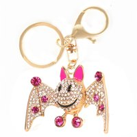 bat purse - Fashion Bat Chiropter Lovely Crystal Charm Pendant Purse Bag Key Ring Chain Auto Accessories Creative Gift