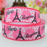 Wholesale quot mm bonjour Paris Printed grosgrain ribbon hai rbow DIY handmade OEM YD