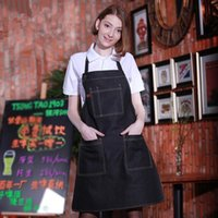 bakers chef - Funny sexy Cotton Denim Apron With Pockets Men Women Barista Barber Baker Restaurant Chef Aprons Coffee Bar Waiter Work Overall