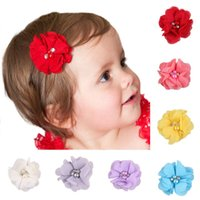 baby arrival cards - 2016 New Arrival Children s Headbands chiffon flowers with a diamond card Baby Hair Band Accessories