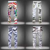 Wholesale 2016 high quality designer Printed jeans The fashion leisure jeans A man s crime tight trousers Color big size