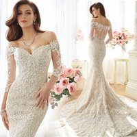 american luxury trains - The New European And American Luxury Perspective Sexy Lace Long Sleeve Bride Word Shoulder Fishtail Trailing Wedding Dress Slim B