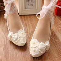 ballet photos - White lace diamond bind the bride wedding shoe wedding photo bridesmaid bow low heel shoes show flats