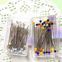 Wholesale 100pcs Round Pearl Head Pins Weddings Corsage Florists Needle Pin with storage box Handmade Crafts Accessory diy sewing tool