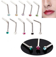 Wholesale NEW Colorful Stainless Steel Nose Bone Body Piercing Screw Stud Crystal