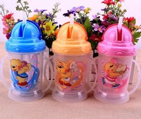 Wholesale 1PC Toddler Infant Newborn Baby Kids Cup Handle Children Cute Learn Feeding Drinking Water Straw Handle Bottle Sippy Cup ml