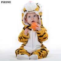 Wholesale Bebe clothes Autumn Winter Mother Nest Baby boy Rompers Hooded Long Sleeve Flannel Animals baby girl romper newborn baby clothes