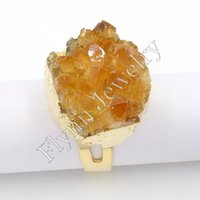 Cheap 2015 New Different Citrine Topaz Druzy Geode Natural Stone Gold Silver Adjustable Rings Charms Fashion Jewelry 10pcs