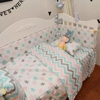 Wholesale Pink blue striped Pieces Set Crib bed cotton baby Bedding set include pillow case Dust Ruffle Crib Quilt blanket