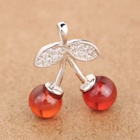 beautiful happy - Genuine S925 Sterling Silver fashion happy cherry red color beautiful crystal cute DIY jewelry accessories