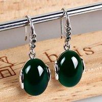 al mail - Jimei silver jewelry silver vintage green chalcedony stone jade Ruby Pendant Earrings female et al jewelry silver mail bag