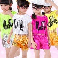 Wholesale Fashion Hip Hop Stage Performance Girls Clothes Children s Set Jazz Dance Costumes Dancewear Tassel Top Shorts UA0177 salebags