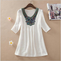 bamboo fertilizer - Europe and the United States Embroidery Tibet Fertilizer Increasing Big Yards Long in the Women s Bamboo Cotton Blouse