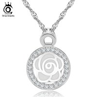 beautiful necklace images - ORSA Newest Design Beautiful Flower Image with Micro Paved CZ Pendant Necklace For Women Wedding Jewelry ON90