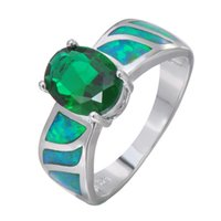 antique emerald ring - Antique Jewelry Green Fire Opal Rings For Female Bohemian Silver Plated Oval Emerald Zircon Stone Ring Bijoux RS0136