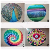 Wholesale 4 Designs Brand Designer Mandala Tapestry Indian Wall Hanging Beach Throw Towel Peacock Yoga Mat Polyester Rainbow Blanket CCA4999