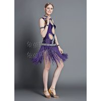 Wholesale Custom made Children Kids Women Sequin Fringe Stage Performance Competition Ballroom Dance Costumes Latin Dance Dress For Girls