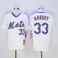 Wholesale 2016 New Arrival Men New York Mets Matt Harvey White Blue Strip Cooperstown Throwback Stitched Jerseys MLB Baseball Jersey