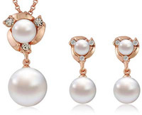 Wholesale High quality Flowers Pearl Pendant Necklace and Stud Earrings Women Fashion Jewelry Sets New K gold plated EP14273