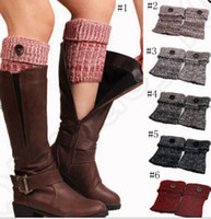 Wholesale Crochet Knitted Leg Warmers Women Warm Button Boot Cuffs Toppers Socks Foot Strap colors LJJO804