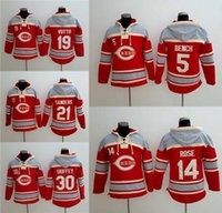 bench fleece - Cheap NEW Cincinnati Reds Hoodies Bench Rose Votto Sanders Griffey Fleece Men s Baseball Jersey
