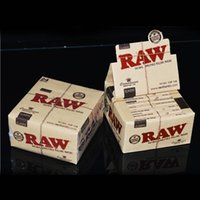 Wholesale R AW CONNOISSEUR Natural UNREFINED Rolling Papers RAW Classic King Size Slim Rolling Papers Tips Watermark Cigarette Tobacco Rolling Papers