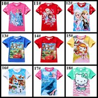 Summer frozen tshirt - styles children clothes short sleeve kids T shirt pig cat plane poli frozen mickey striped dots boy girl cartoon tshirt top tee