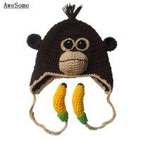 ape boy - Handmade Knit Crochet Monkey Hat with Bananas Baby Boy Girl Animal Earflap Hat Ape Orangutan Hat Newborn Toddler Photo Prop