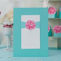 autograph books - Wishmade Sky Blue Elegant Laser Cut Wedding Guest Book Wedding Attendance Book Beautiful Autograph Book for Wedding