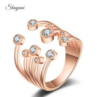 Wholesale SHUYANI Jewelry Fashion CZ Diamond Wedding Jewelry For Women Adjustable Opening Rhinestone Rings as Gift