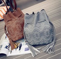 bb designer - 2016 Hot Small bucket women tote bag tassels genuine leather bag women messenger bags famous brand designer handbags high quality BB