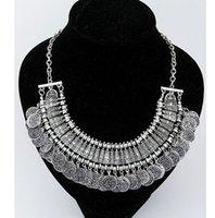 Bijoux turc millésime femmes de la mode Boho Monnaies choker chunky Colliers Argent antique et collier déclaration or bijoux indienne