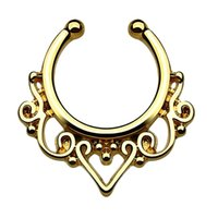 Wholesale 10 Gold clicker fake septum For Women Body Clip Hoop fake nose ring Faux Piercing Body Jewelry non