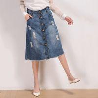 Falda de la falda del dril de algodón de las mujeres calientes del dril de algodón de la falda delantera de una línea de las faldas de Jean Falda de la rodilla-longitud del otoño de las faldas XS-5XL XA0307