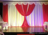 Wholesale Romantic White and Fuchsia Ice Silk Wedding drape Wedding decoration Backdrop M for Wedding Decoration Stage Backdrops Curtain