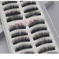 Wholesale 10 Pairs Fashion Hand made Natural Thick Black False Eyelashes styles to pick up Fake Lashes Hot Sales Pairs in a SET