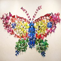 american classics cabinets - 5 set D Butterfly Wall Sticker Regrigerator Cabinet Glass Bathroom Stickers Wedding Restaurant Kindergarten Home Decoration